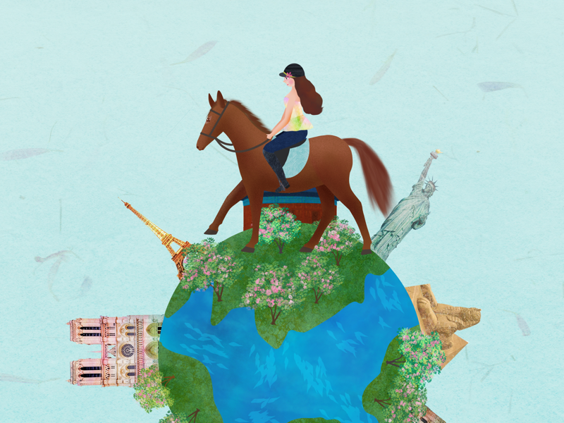 Travel round the world horse earth travel illustration