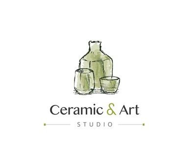 Ceramic and Art Studio Logo Concept sans serif studio ceramic studio modern hybrid sketch sketchy organic traditional watercolor green identity branding logo art studio art ceramic