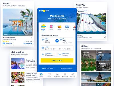 tiket.com Magazine Style bold heading sf ui boxy city hotel flight tour home screen ui design travel magazine blue tiketcom tiket.com tiket