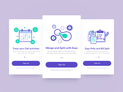 Cell App - Onboard Tour Screens