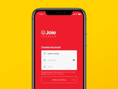 Daily UI #1 - Sign Up journaling app mood tracker ars maquette pro red app diary joie logbook daily sign up iphone x