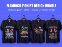 New Flamingo T-Shirt Design Bundle - Hello Dribbble