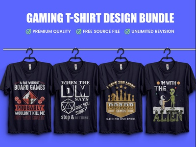 Gaming T-Shirt Design Bundle .Hello Dribbble