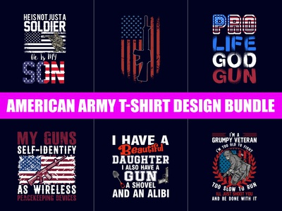 American Army T-shirts Design Bundle