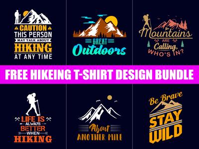 Free Hiking T Shirt Design Bundle