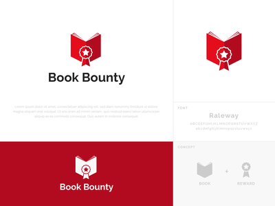 Book Bounty Logo icon graphic design red illustrator logotype bounty reward book brand logos logo design typography branding design vector ui ui design dailyuichallenge dailyui logo