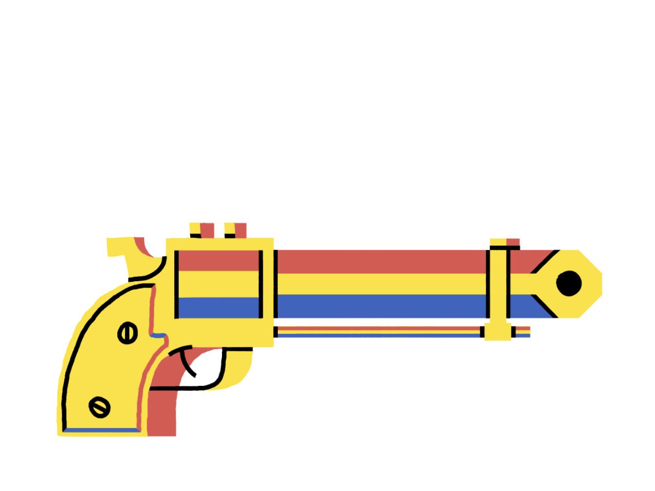 Plinkers pistol flat illustration design branding animation