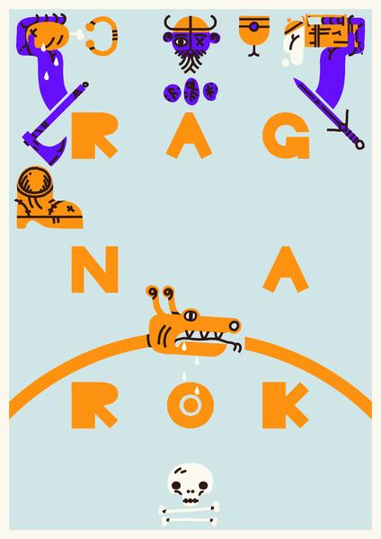 Ragnarok process type branding typography vikings viking treasure pattern minimal meat loot logo fun experiment drawing beer branding beer animation illustration flat design