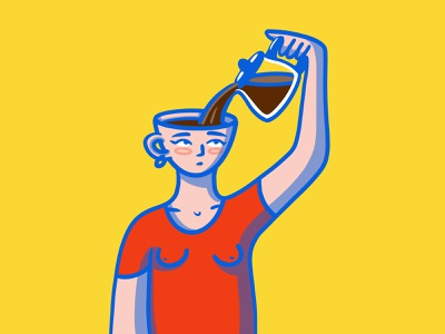 fuelled by coffee woman portrait minimal fun face drawing creative character design character cartoon procreate illustration flat 2d primary colors focus brainstorm morning coffee