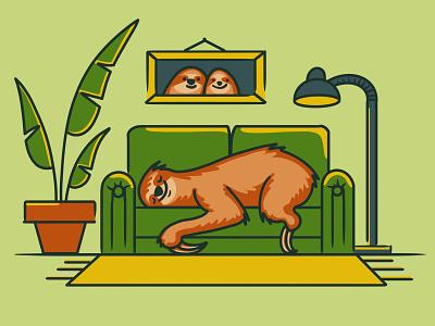 World Sleep Day character world sleep day room procreate minimal health fun digital art cartoon pet animal flat 2d nap sleep sloth cute illustration