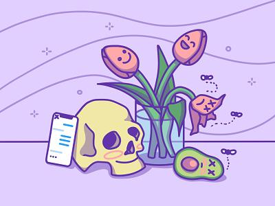 Vanitas stay safe minimal digital art cute flat fun icon illustration procreate purple skull iphone flower avocado stay home covid-19 coronavirus 2d