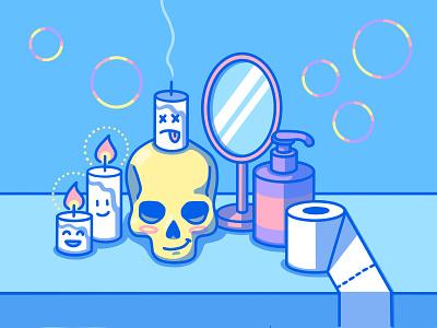 the bathroom vanitas covid vanitas toilet paper soap mirror skull candle bubbles simple symbol blue modern minimal flat digital illustration cute art 2d procreate illustration