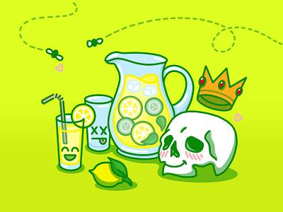The Lemonade Vanitas still life drink glass crown memento mori symbols vanitas skull simple minimal flat digital illustration cute covid lemonade lemon art 2d procreate illustration