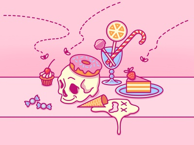 The Candy Vanitas 2020 diet stay safe memento mori ice cream coping skills still life flat cake lollipop pink muffin candy skull cute donut 2d procreate icon illustration