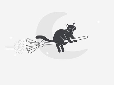Happy Halloween! black  white scary halloween broom cat icon illustration