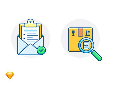 ORDER COMPLETE & PARCEL TRACKING e-commerce sketch clipboard envelope magnifier box tracking parcel order freebie free illustration icon