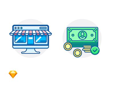 ONLINE SHOP & PAYMENT ACCEPTED storefront mac money sketch free freebie dollar cash shop e-commerce icon illustration