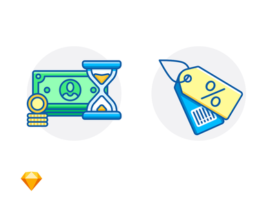 SALE & WAITING FOR PAYMENT price tag barcode sale hourglass dollar cash sketch freebie free e-commerce illustration icon