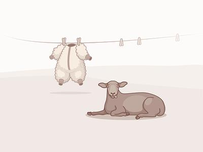 Black Sheep monochromatic tongue silly grassland black sheep laundry wool sheep illustration