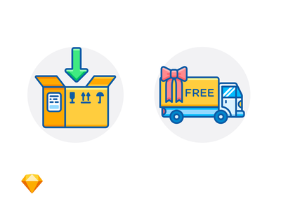 PACKING IN PROGRESS & FREE DELIVERY arrow bow truck delivery package box sketch freebie free e-commerce icon illustration