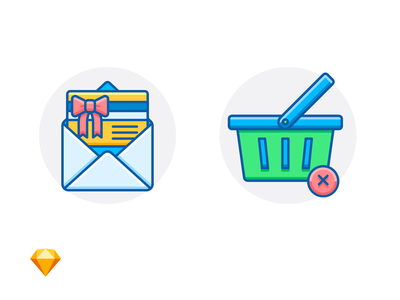 GIFT CARD & ORDER CANCELED shopping cart basket gift card envelope sketch freebie free e-commerce icon illustration
