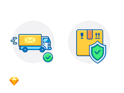 ON THE WAY & PACKAGE INSURANCE sketch freebie free e-commerce icon illustration envelope fragile delivery truck box shield check mark