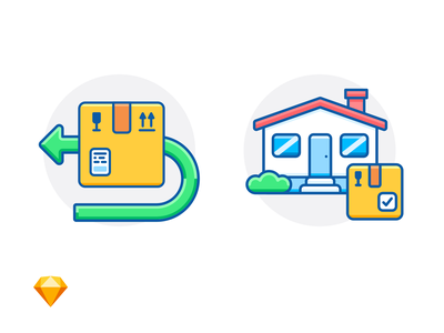 RETURN & DELIVERED online shopping arrow house package fragile delivery box sketch freebie free e-commerce icon illustration