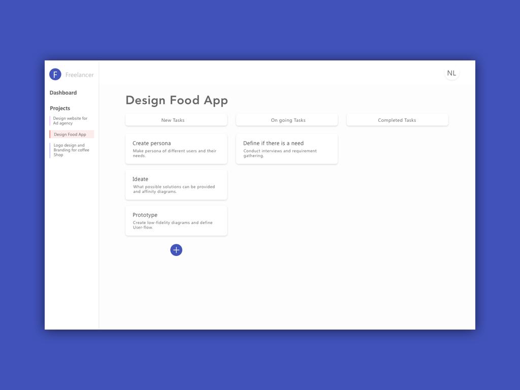 Freelancer Dashboard product design framer sketch