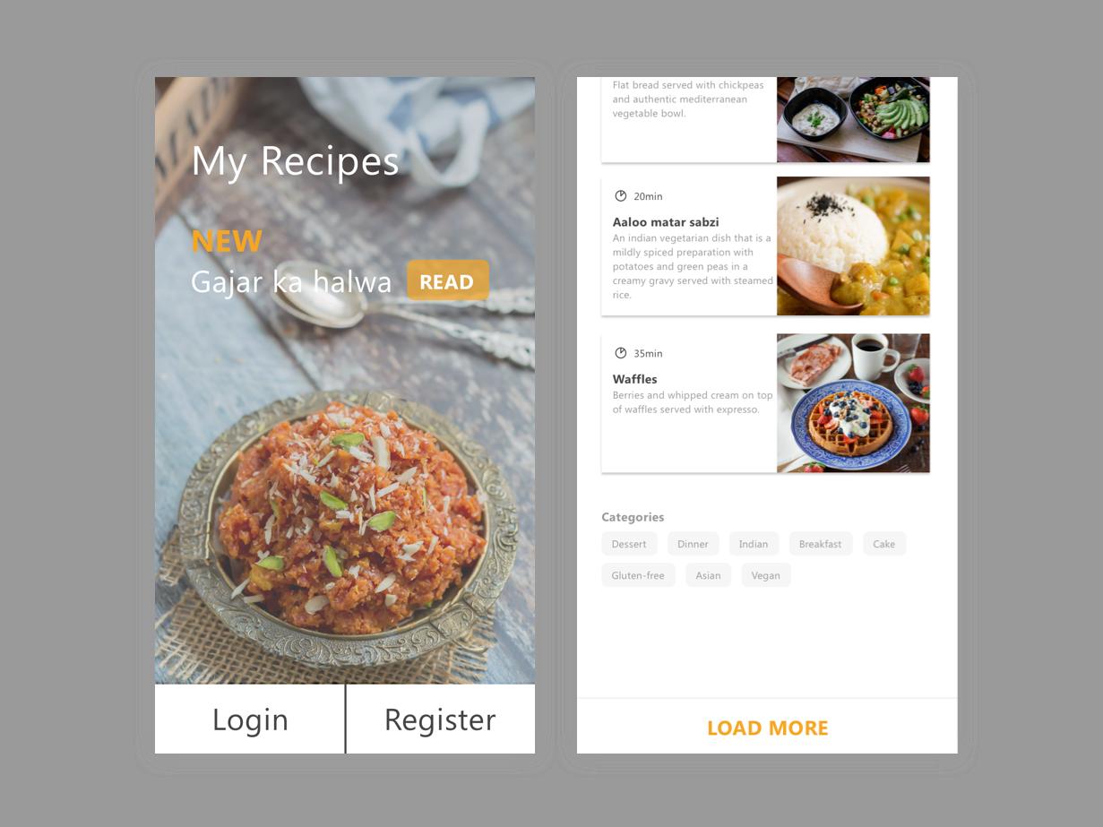 Recipes Blog app product design ux sketch