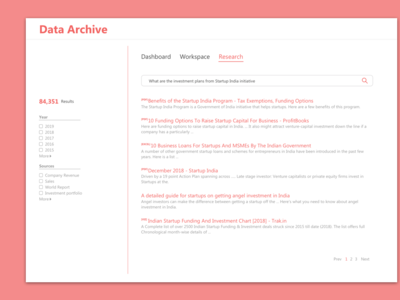 Dashboard for archive data