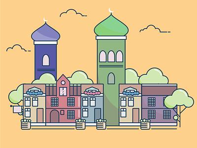 Line Art City flat mosque building city illustration stroke line
