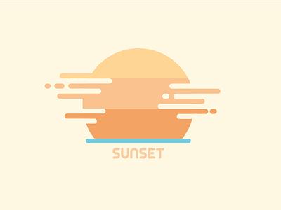 Sunset illustrator orange sun sunset flat