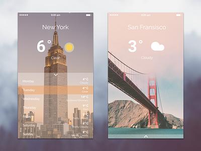 Weather App Concept news ux ui mobile app weather