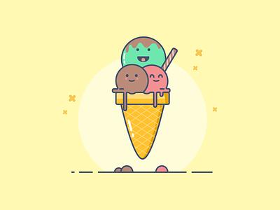 Ice Cream Cone sketch sweet cone strawberry chocolate illustration flat ice cream