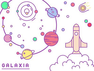 Galaxia Illustration illustration star planet rocket universe galaxy