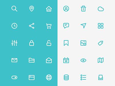 Icon Set mobile web ui illustration flat sketch stroke line set icon