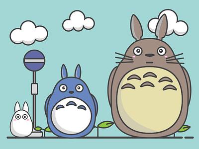 My Neighbor Totoro line flat movie ghibli illustration totoro