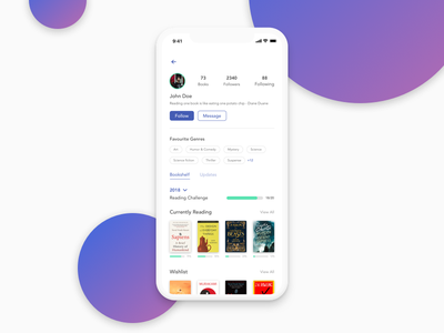 Daily UI #006 - User Profile mobile iphonex library book goodreads social app profile account user profile dailyui006 dailyui