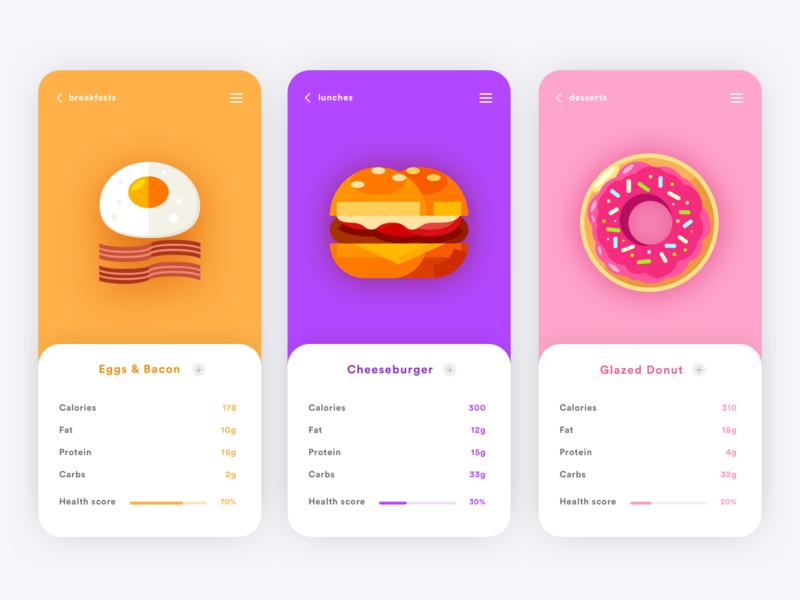 Food Nutrition App mobile design mobile illustration app ux ui design