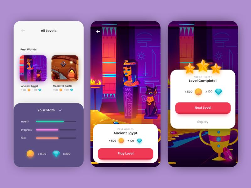 Mobile Game UI ux ui mobile design mobile illustration design app