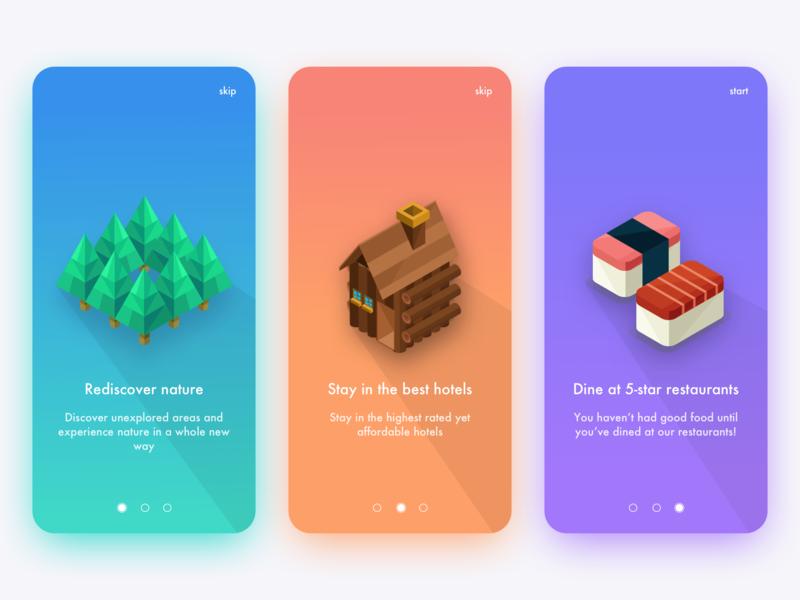 Travel App Onboarding ux ui mobile design mobile illustration design app