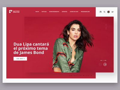 Channel Uno dailyinspiration interface design ux  ui singer canal entreteniment dua lipa slider ux canal uno channel typography ui-design bogota colombia redesing site ui web website