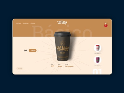 Tostado Concept Brand Art trendy popular trend hero hero section shop web webdesign brown coffee bean coffeeshop coffee vector minimal design branding ui