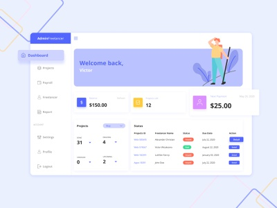 Dashboard-Freelance Management management dashboard landing page design website design landingpage welcome page ui ux design