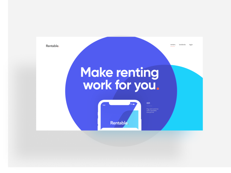 Rentable - Make renting work for you deck app typography uxdesign responsive powerpoint keynote rent mobile app product presentation design pitchdeck presentation realestate ui ux pitch landing website