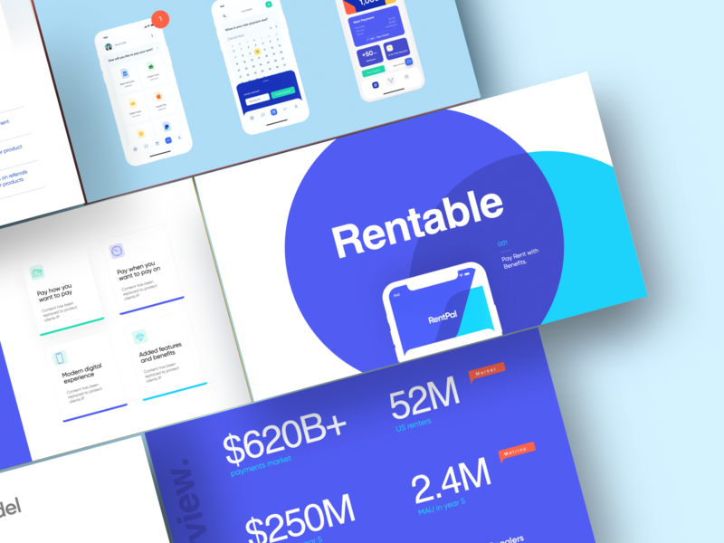 Presentation / Pitch Deck - Rentable deck san francisco product design ui ux real estate statistics infographic data visualization data designer color typography slide keynote presentation design powerpoint pitchdeck pitch deck pitch