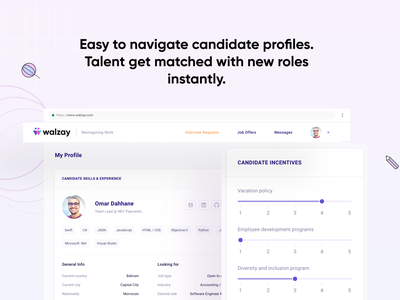 Walzay - Hire the best talent in the universe. shadow presentation profile uxui data visualization icon logo typography data analytic checkout product design product ui design interface design ux ui dashboard presentation design
