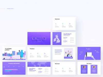 OCTO Presentation/Pitch Deck deck slides slide problem pitchdeck funding investor deck keynote product design startup data viz data storytelling illustration powerpoint presentation powerpoint template powerpoint pitch deck pitch presentation design