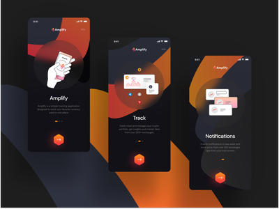 Amplify Onboarding Screens explainer interface amplify playstore android ios presentation uidesign ui designer mobile app app onboarding onboard ui kit ui  ux ux design ui design ux ui