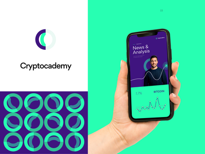 Logo and Brand Identity design for Cryptocademy logo mark academy blockchain crypto bitcoin data visualization presentation design ux mobile app pattern logos brand identity branding product ux design ui  ux ui logo presentation design